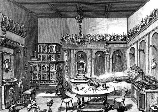 Doll house from the 17th century Illustration from 19th century dollhouse stock illustrations