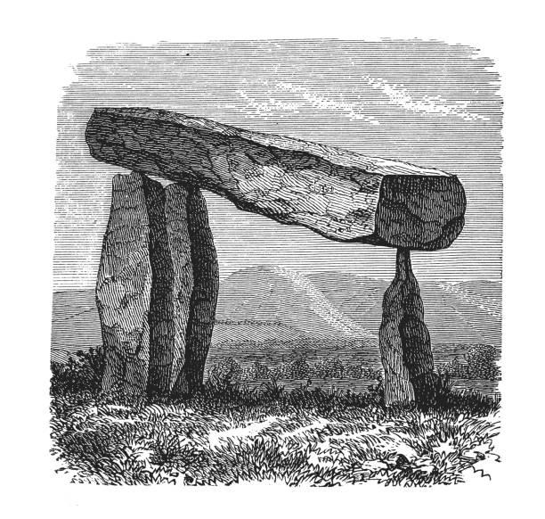 Dolmen at Castlewellan in Ireland Illustration of Poulnabrone Dolmen portal dolmen stock illustrations