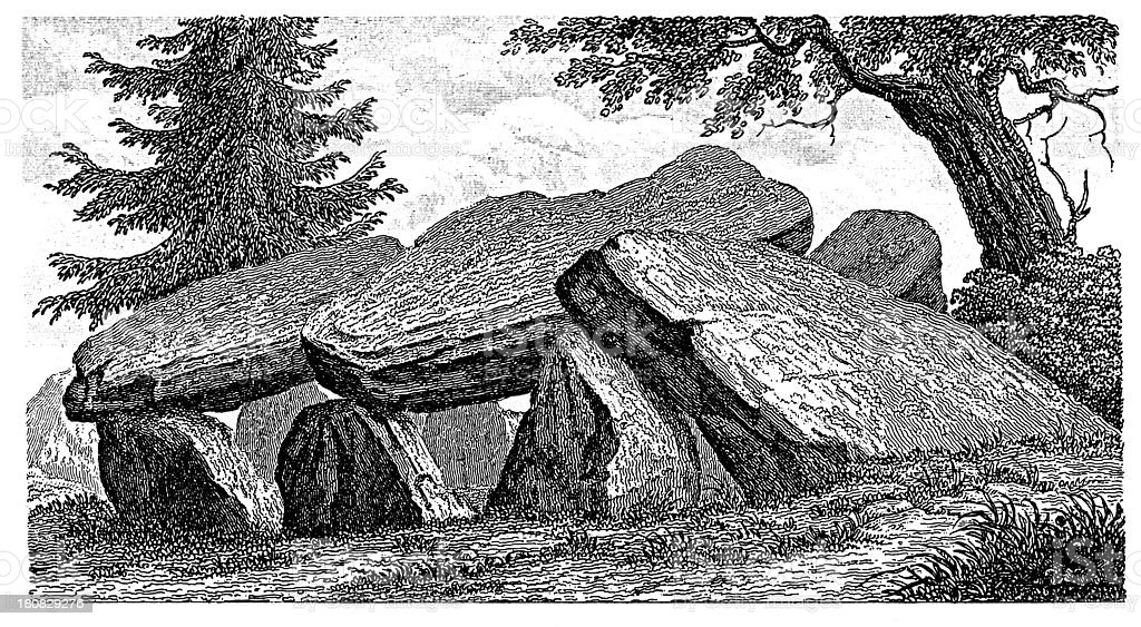 Dolmen in Lower Saxony (antique wood engraving) royalty-free stock vector art