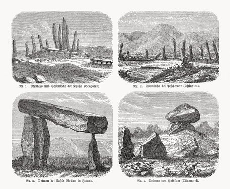 Dolmen, wood engravings, published in 1893