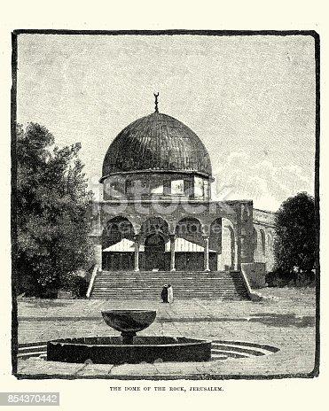 Vintage engraving of Dome of the Rock, Jerusalem
