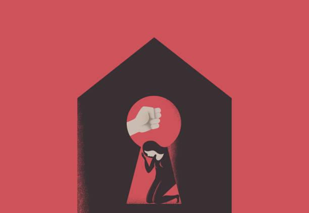 illustrazioni stock, clip art, cartoni animati e icone di tendenza di domestic violence during quarantine. silhouette of male fist over scared woman through house keyhole - violenza donne