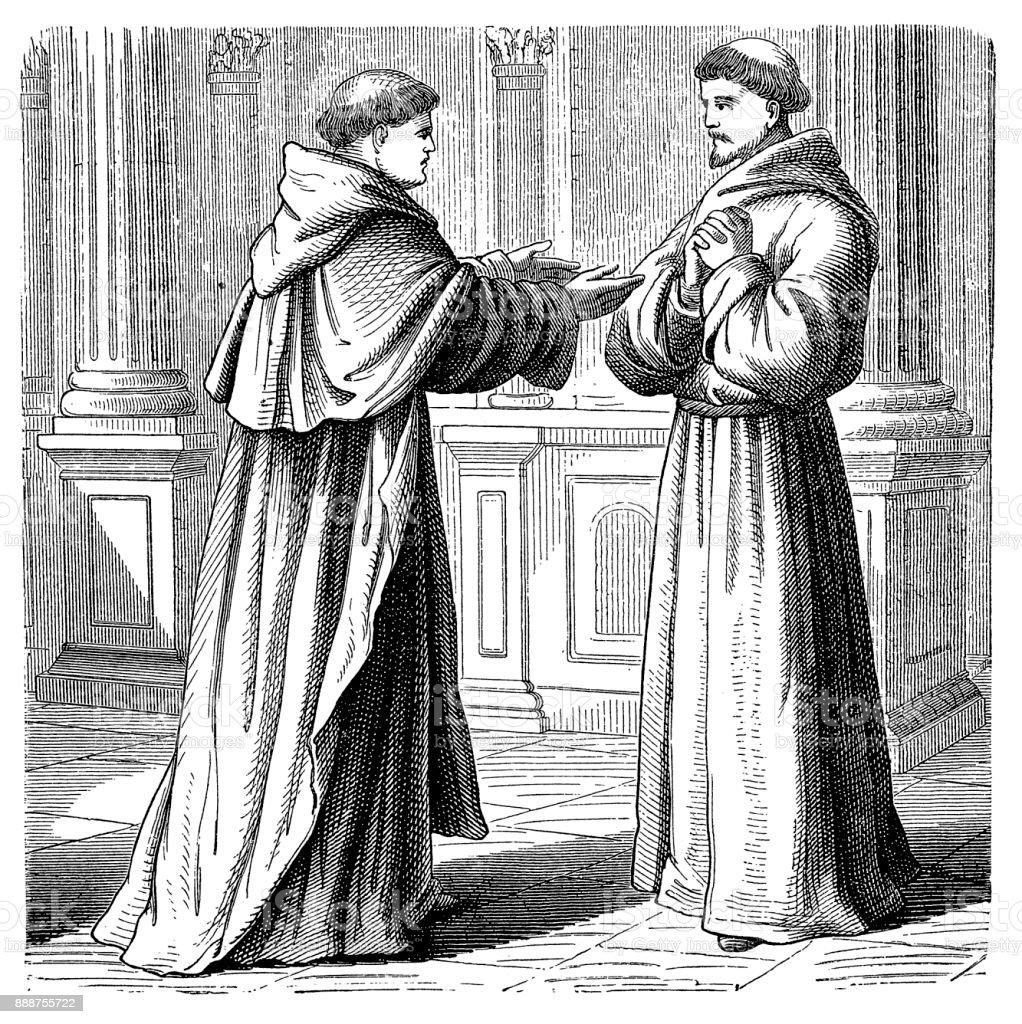 Están probable que han enfrentado aquí conocer Dominicana y fraile franciscano y dos puntos de vista de la finalidad de la encarnación. - ilustración de arte vectorial