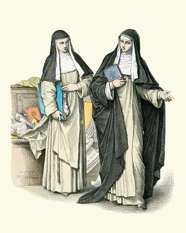 Vintage illustration, Dominican Nuns, Habits, Sisters, 18th Century.