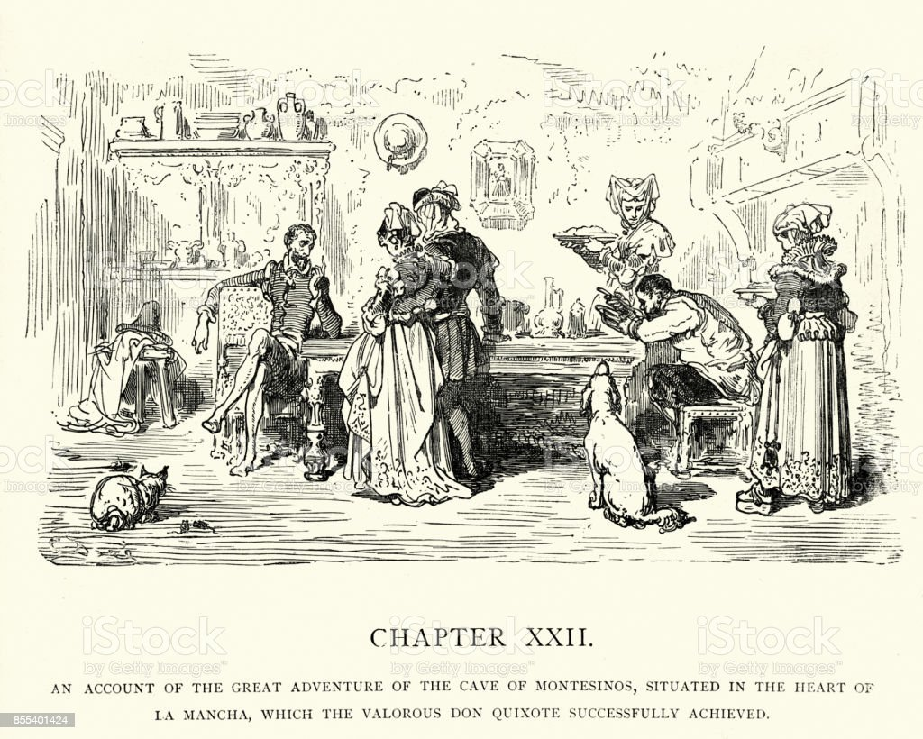 Don Quixote, Account of the great advanture cave of montesinos vector art illustration