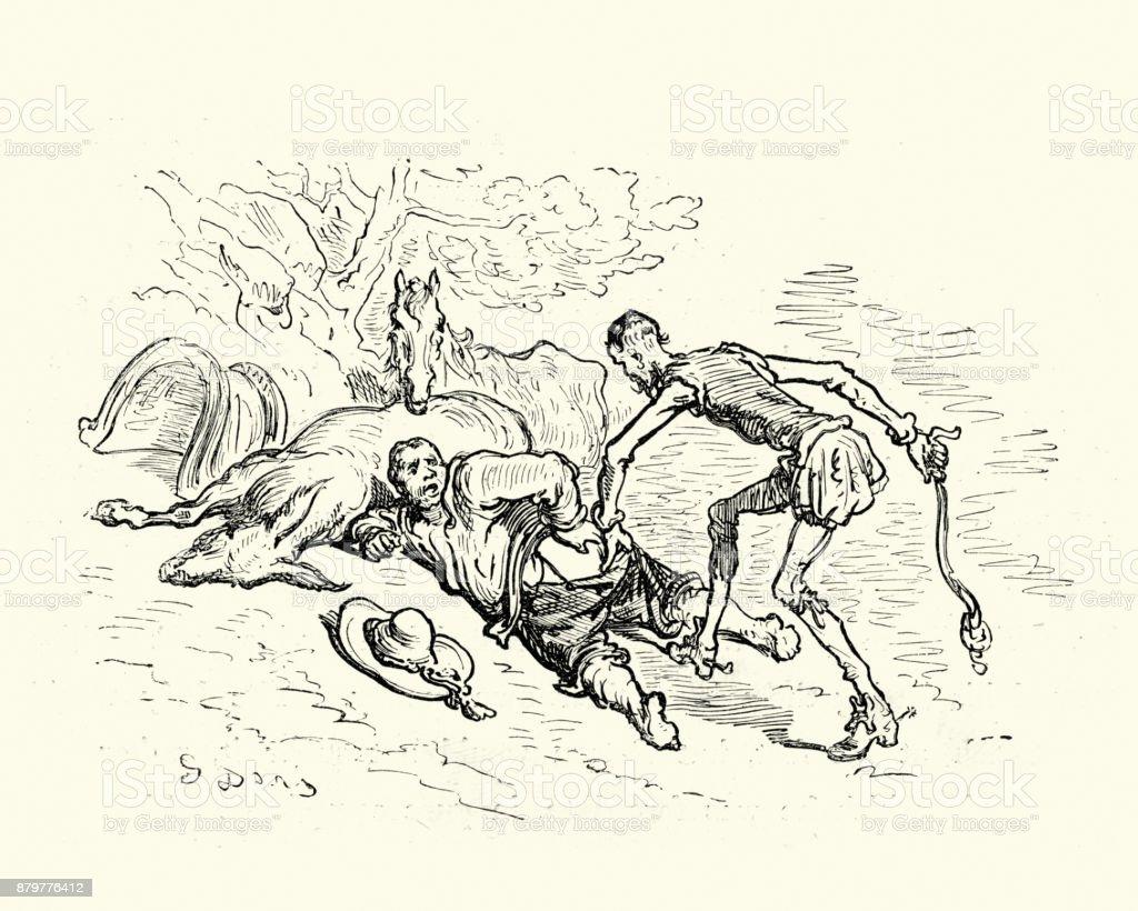 Don Quixote and Sancho vector art illustration