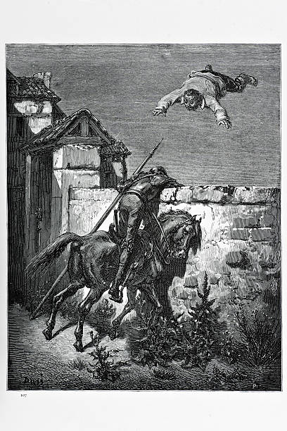 don quixote and  sancho panza - old man funny pictures stock illustrations, clip art, cartoons, & icons