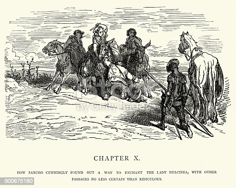 Vintage engraving by Gustave Dore from the story The Ingenious Gentleman Don Quixote of La Mancha by Miguel de Cervantes. How Sancho cunningly found out a way to enchant the Lady Dulcinea, with other passages no less certain than ridiculous.