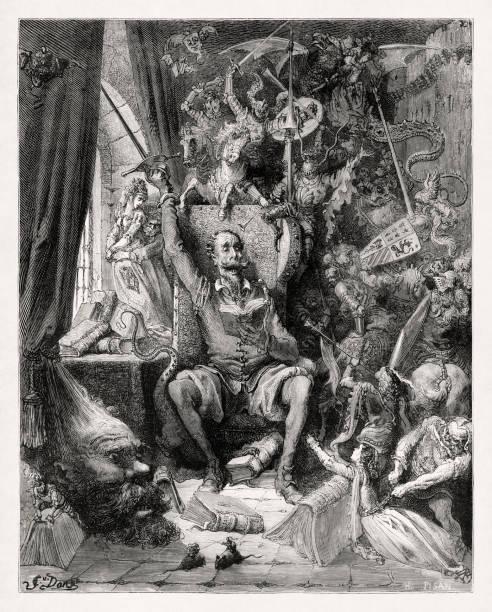 Don Quixote from the novel by Miguel de Cervantes vector art illustration