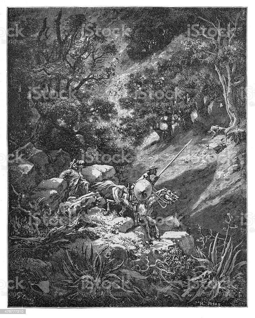Don Quixote in the Black Mountain vector art illustration