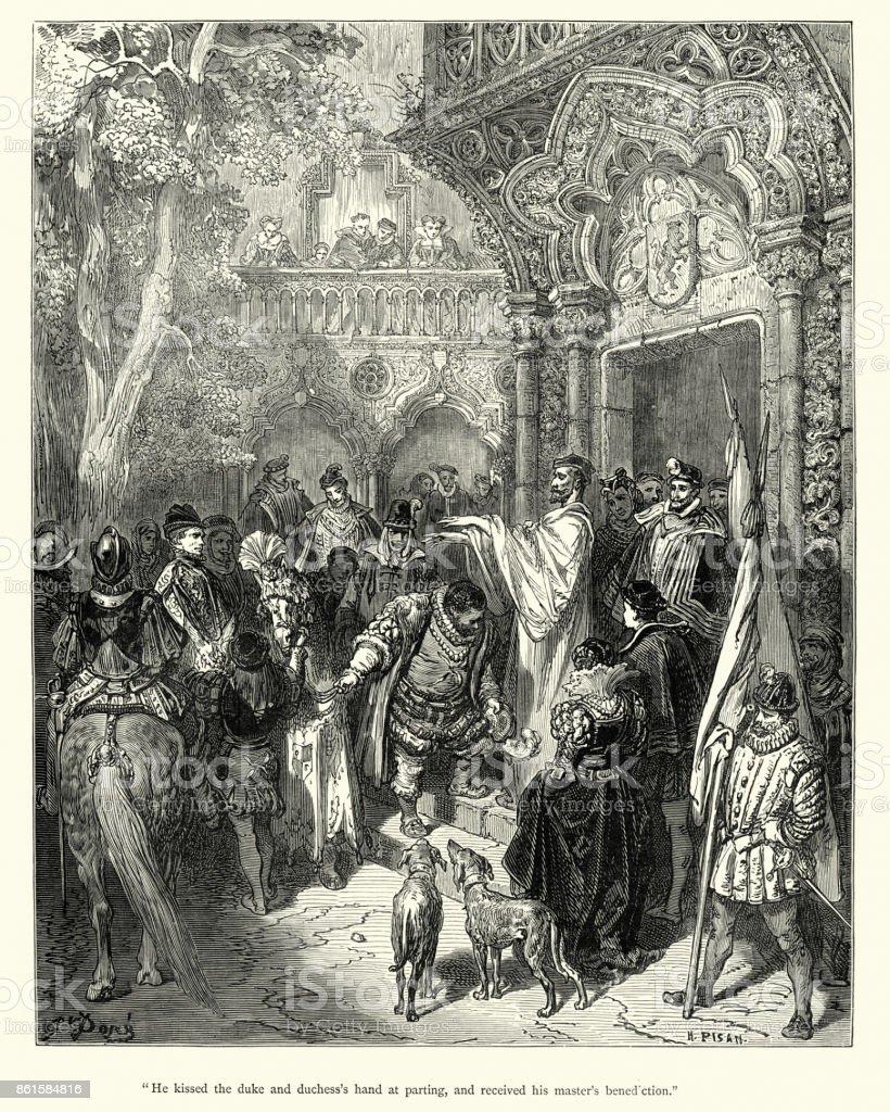 Don Quixote Sancho Panza Empfangen Seines Meisters Segnung Vektor