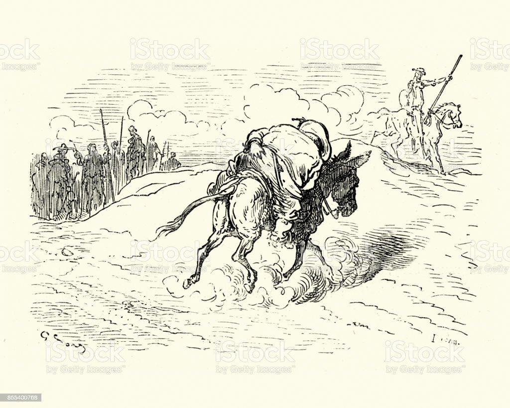Don Quixote Sancho Panza Reiten Esel Stock Vektor Art Und Mehr