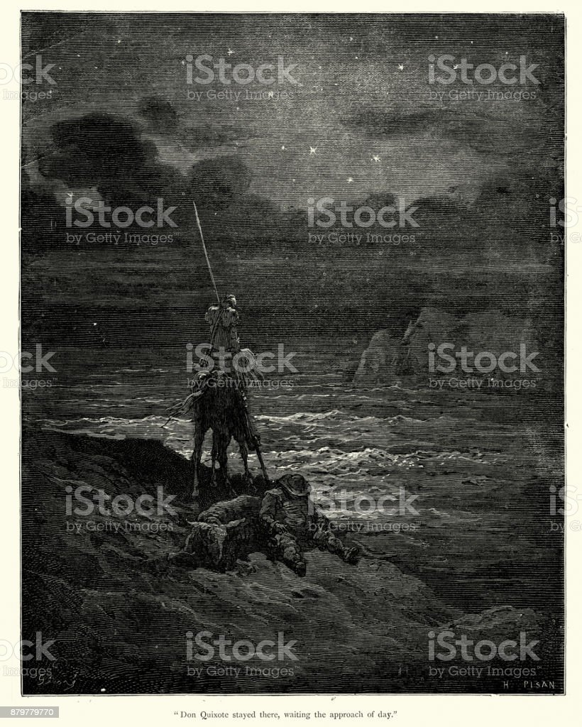 Don Quixote stayed there, waiting the approach of day vector art illustration