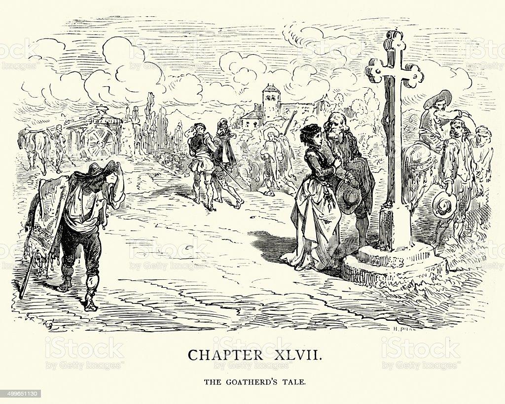 Don Quixote - The Goatherd's Tale vector art illustration
