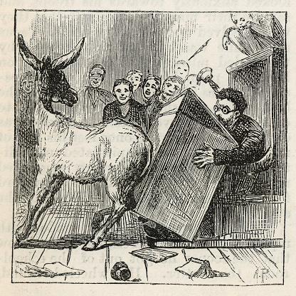 Donkey knocking over the teachers desk, Victorian illustration