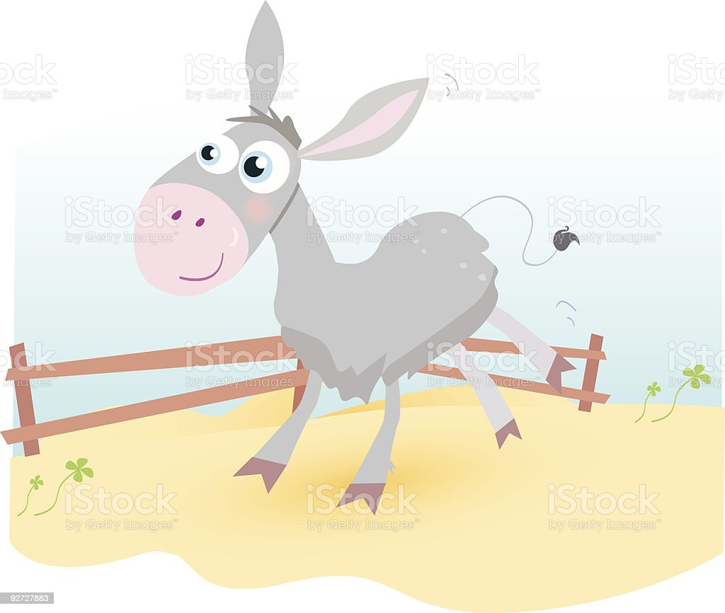 Donkey on farm royalty-free stock vector art