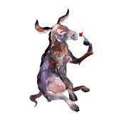 Donkey with flower, watercolor hand-drawn animal illustation. Isolated object  on white background.