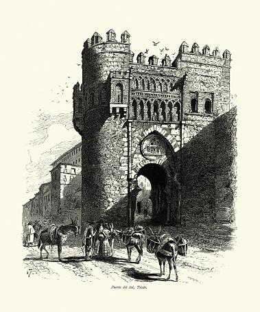 Donkeys, Workers, Medieval Puerta del Sol, Toledo, Spain, 19th Century