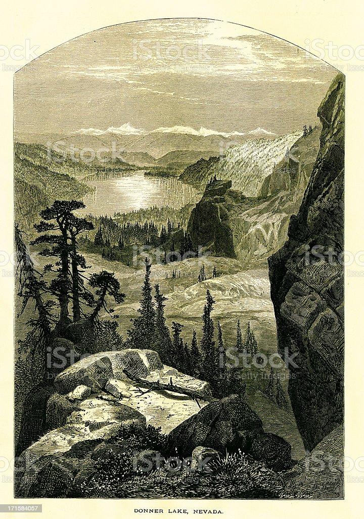 Donner Lake, California royalty-free donner lake california stock vector art & more images of 19th century
