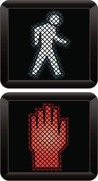dont walk vector art illustration