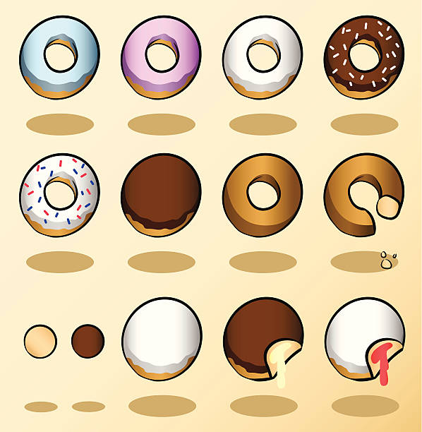 donuts - vanillesauce stock-grafiken, -clipart, -cartoons und -symbole