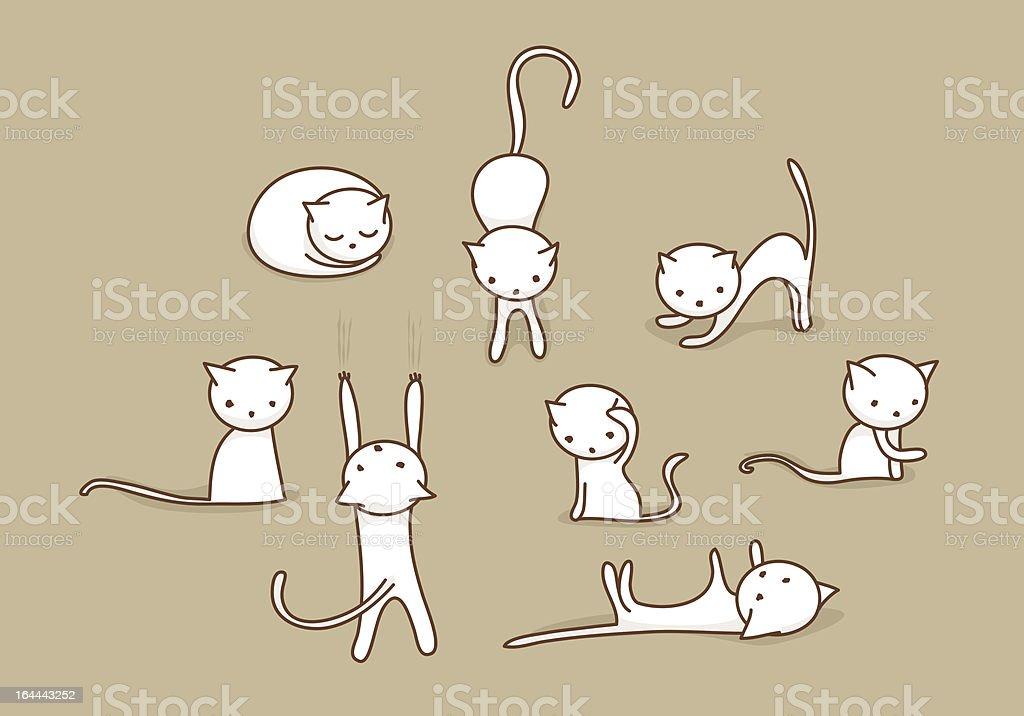 Doodle cat set vector art illustration