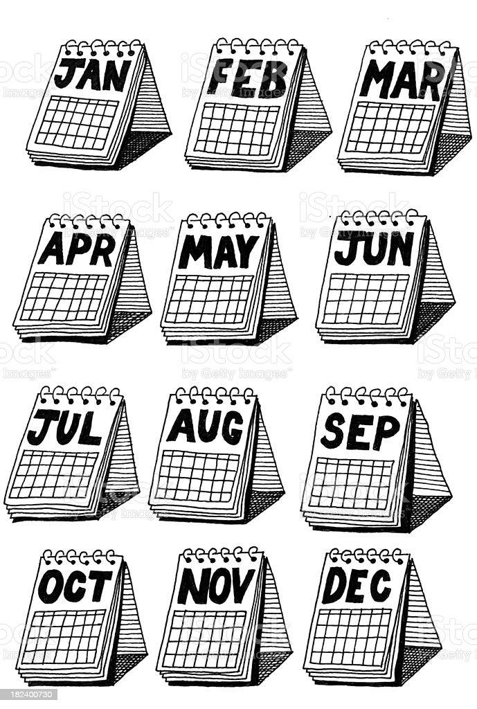 Doodle desktop calendar royalty-free stock vector art