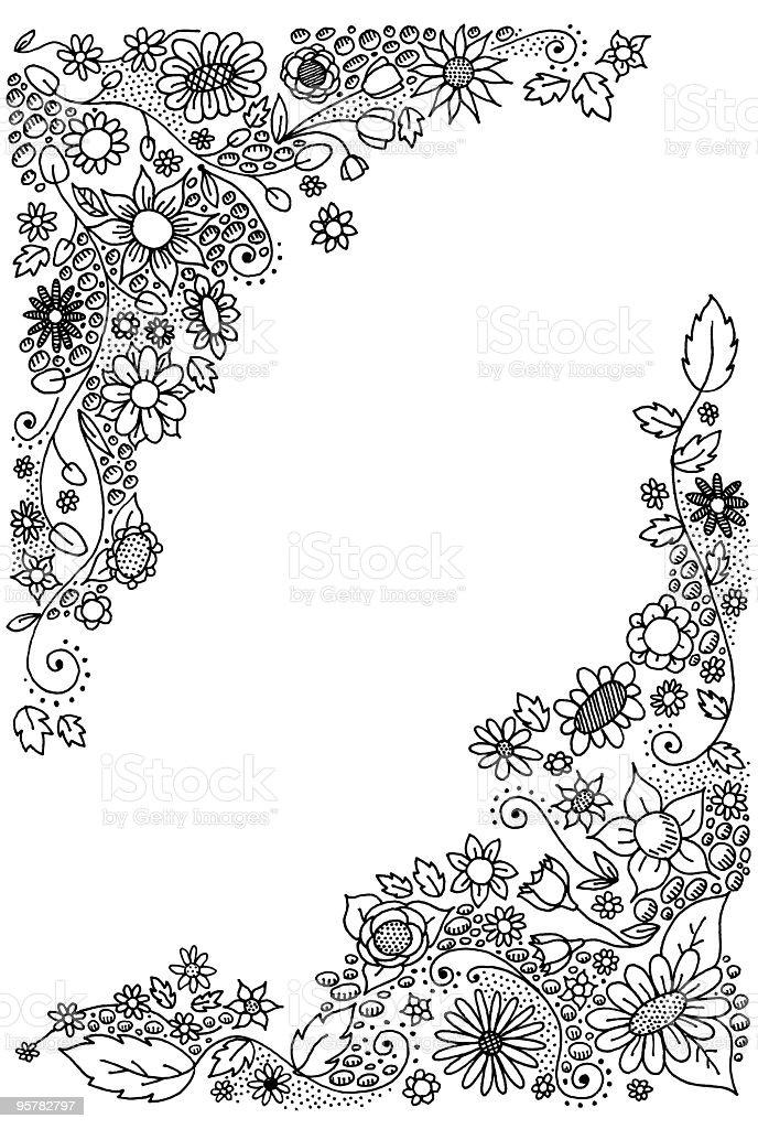 Doodle Blumen Ecken Stock Vektor Art und mehr Bilder von Blatt ...