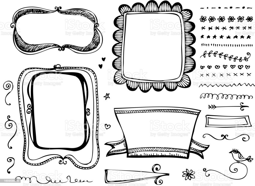 Doodle Frames And Design Elements Stock Vector Art More Images Of