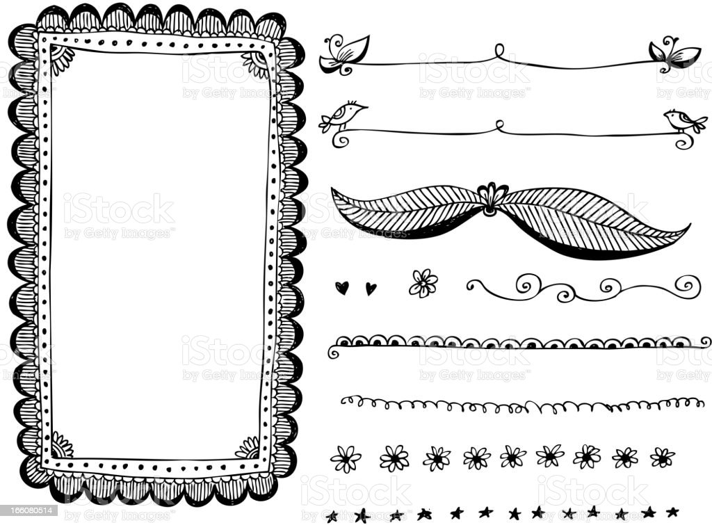 Doodle Frames And Design Elements Stock Vector Art & More Images of ...