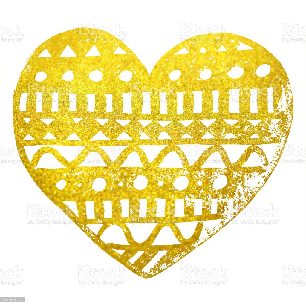 Doodle gold golden heart ink hand drawn isolated - Royalty-free Abstract stock illustration