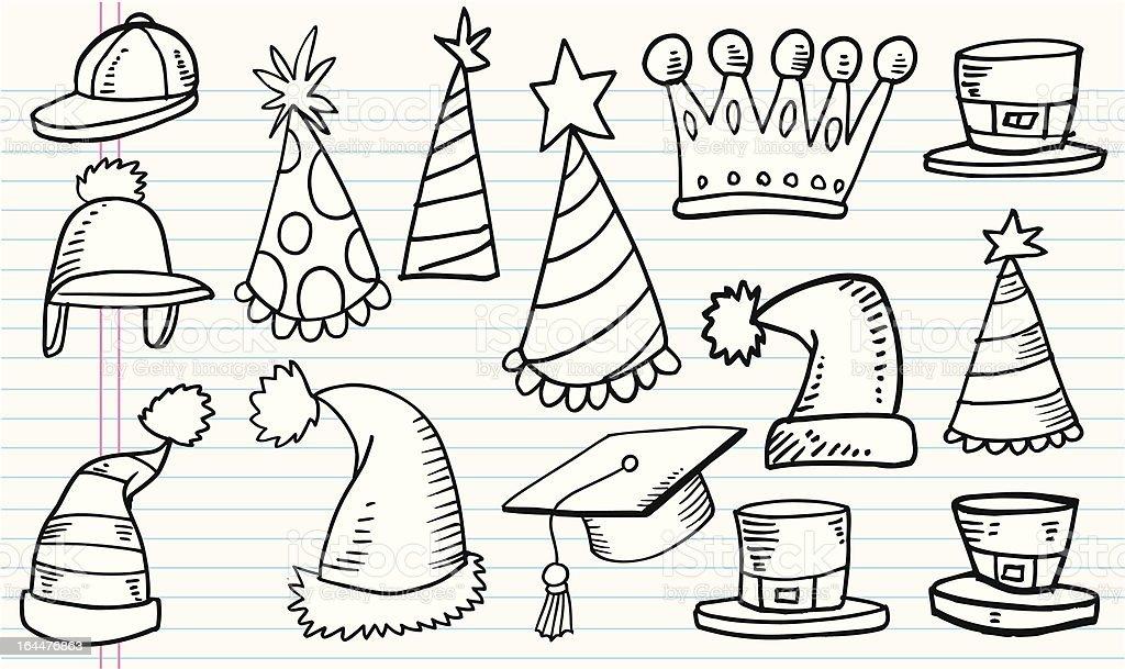 Doodle Hat Set vector art illustration