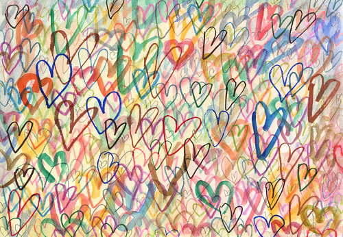 Doodle hearts arty background
