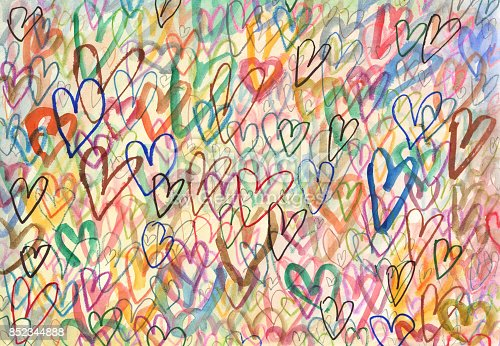 istock Doodle hearts arty background 852344888
