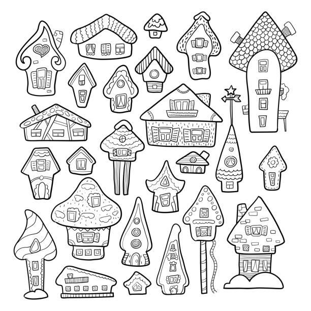 doodle haus vektor-illustration. winter saisonale färbung seite. kinder-kindergarten-plakat. adventskalender-vorlage - adventskalender tür stock-grafiken, -clipart, -cartoons und -symbole