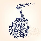 Three-dimensional shape doodle music note illustration