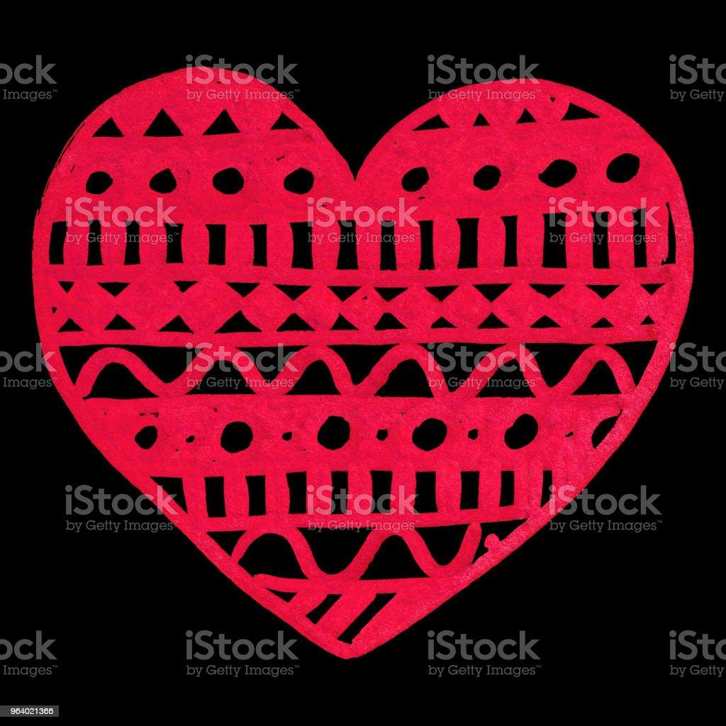 Ilustración de Mano De Tinta Zentangle Doodle Corazón Rojo Dibujado ...