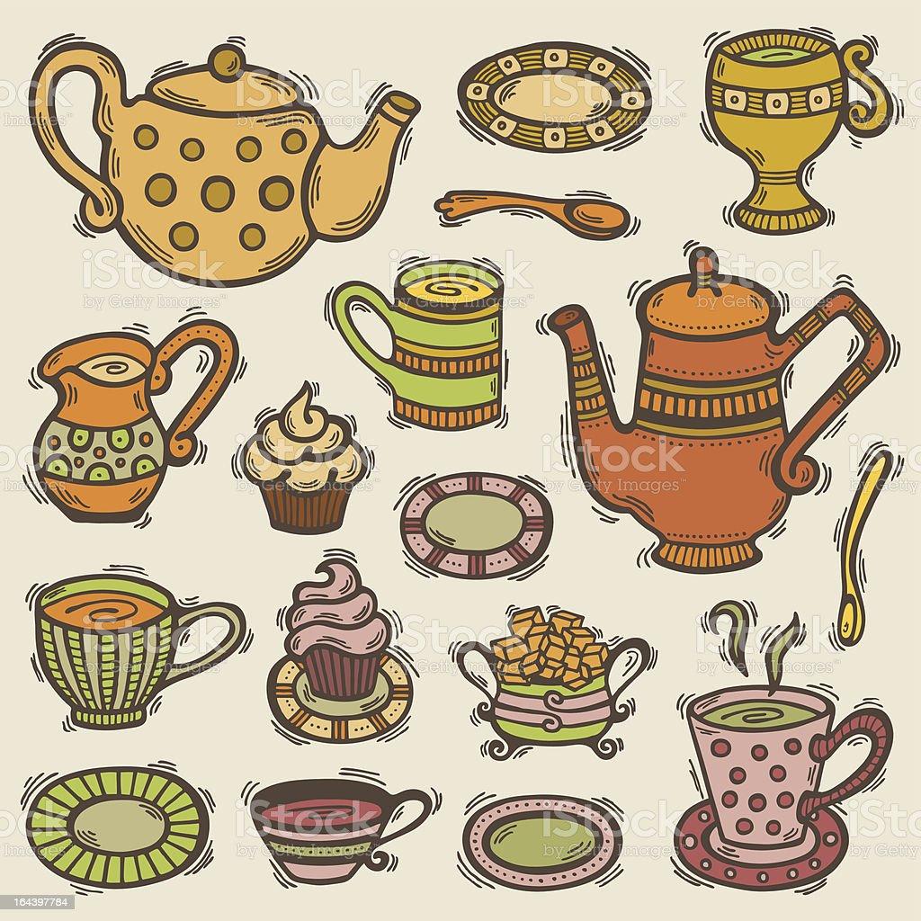 Doodle tea set royalty-free doodle tea set stock vector art & more images of bowl