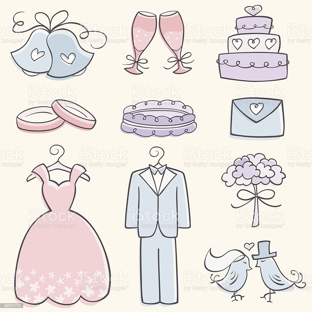 Doodle Wedding Elements royalty-free stock vector art