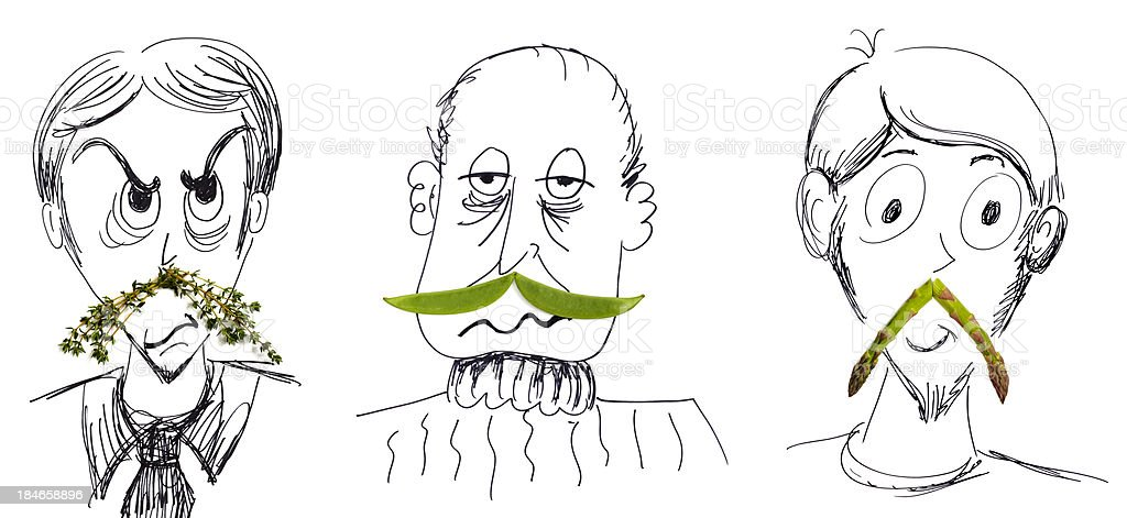 Doodled Men With Vegetable Mustaches vector art illustration