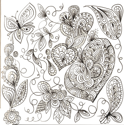 doodles abstract flowers heart butterfly and leaves
