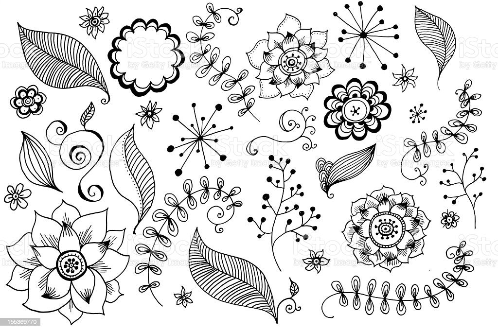 Doodles Flowers collection royalty-free doodles flowers collection stock vector art & more images of abstract