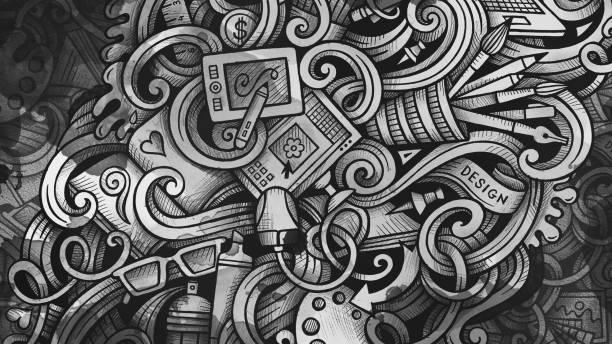 Doodles Grafikdesign Illustration. Kreative Kunst Hintergrund – Vektorgrafik