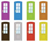 Set of multicoloured doors on a white background