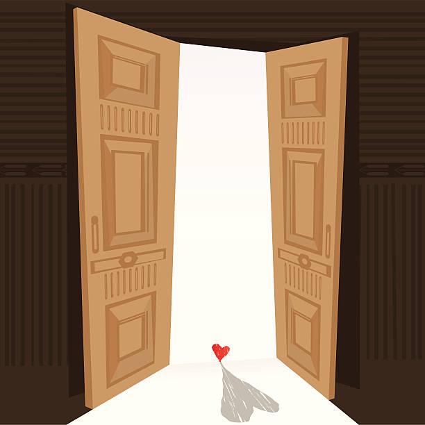 Doors open to love vector art illustration