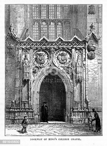 ery Rare, Beautifully Illustrated Antique Engraving of Doorway of King's College Chapel, Cambridge, Cambridgeshire, England Victorian Engraving, 1840. Source: Original edition from my own archives. Copyright has expired on this artwork. Digitally restored.