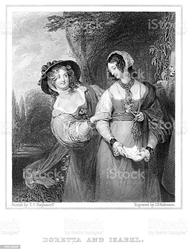 Doretta and Isabel royalty-free doretta and isabel stock vector art & more images of 19th century
