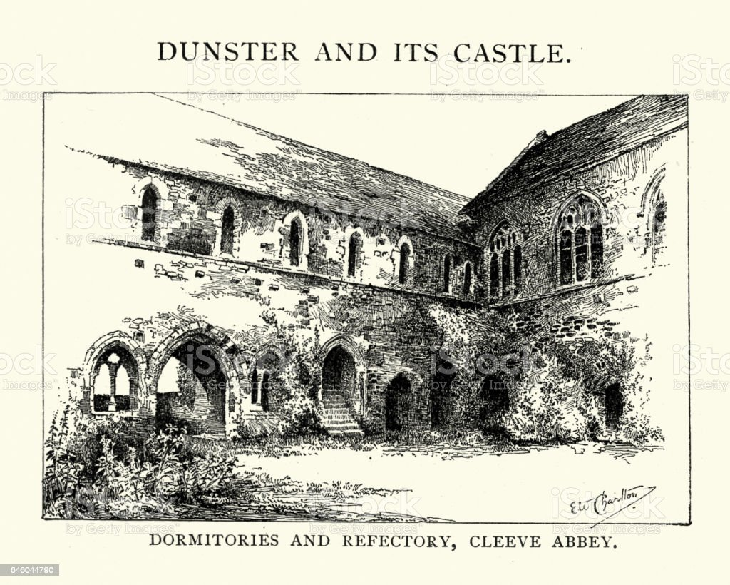 Dormitories and refectory of Cleeve Abbey vector art illustration