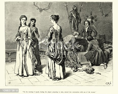 Vintage engraving Scene from the story Dorothy Forster by Walter Besant, Illustrated by Charles Green, The Graphic, 1884. In the morning I myself, finding the players preparing to start, entered into conversation with one of the woman.