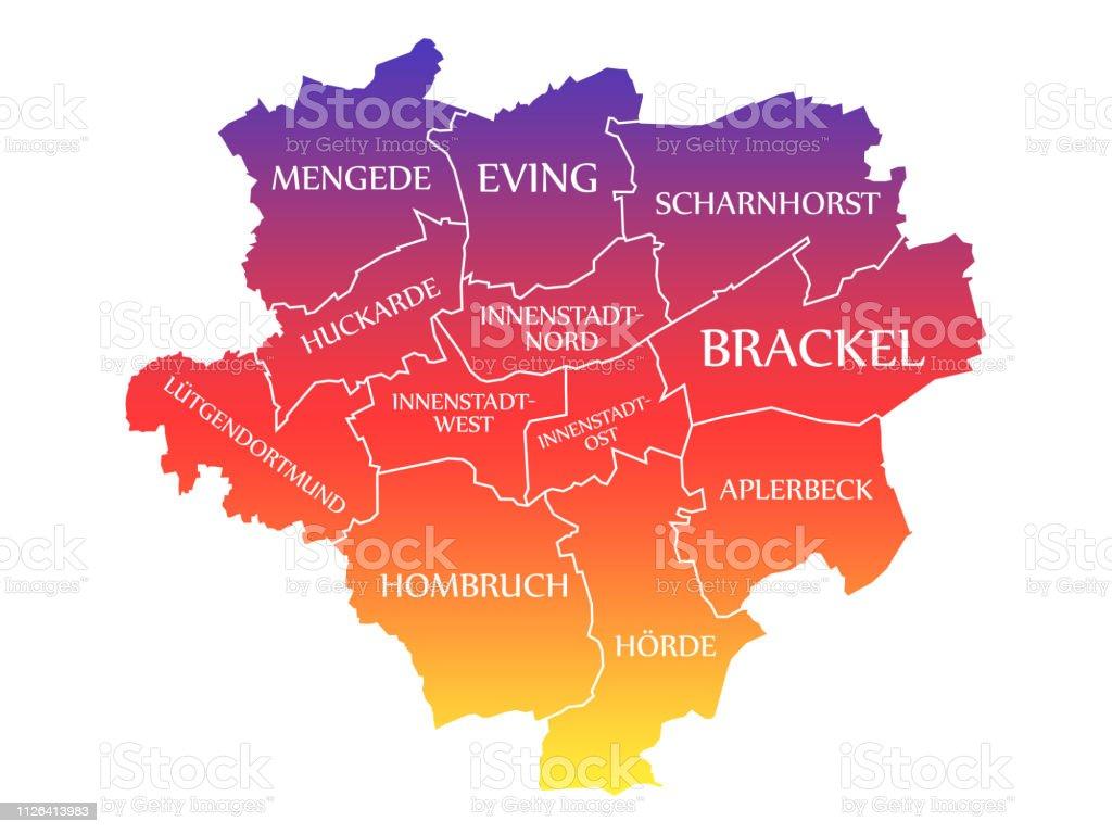 Carte Allemagne Dortmund.Illustration De Couleur Arcenciel Marque Dortmund City Carte